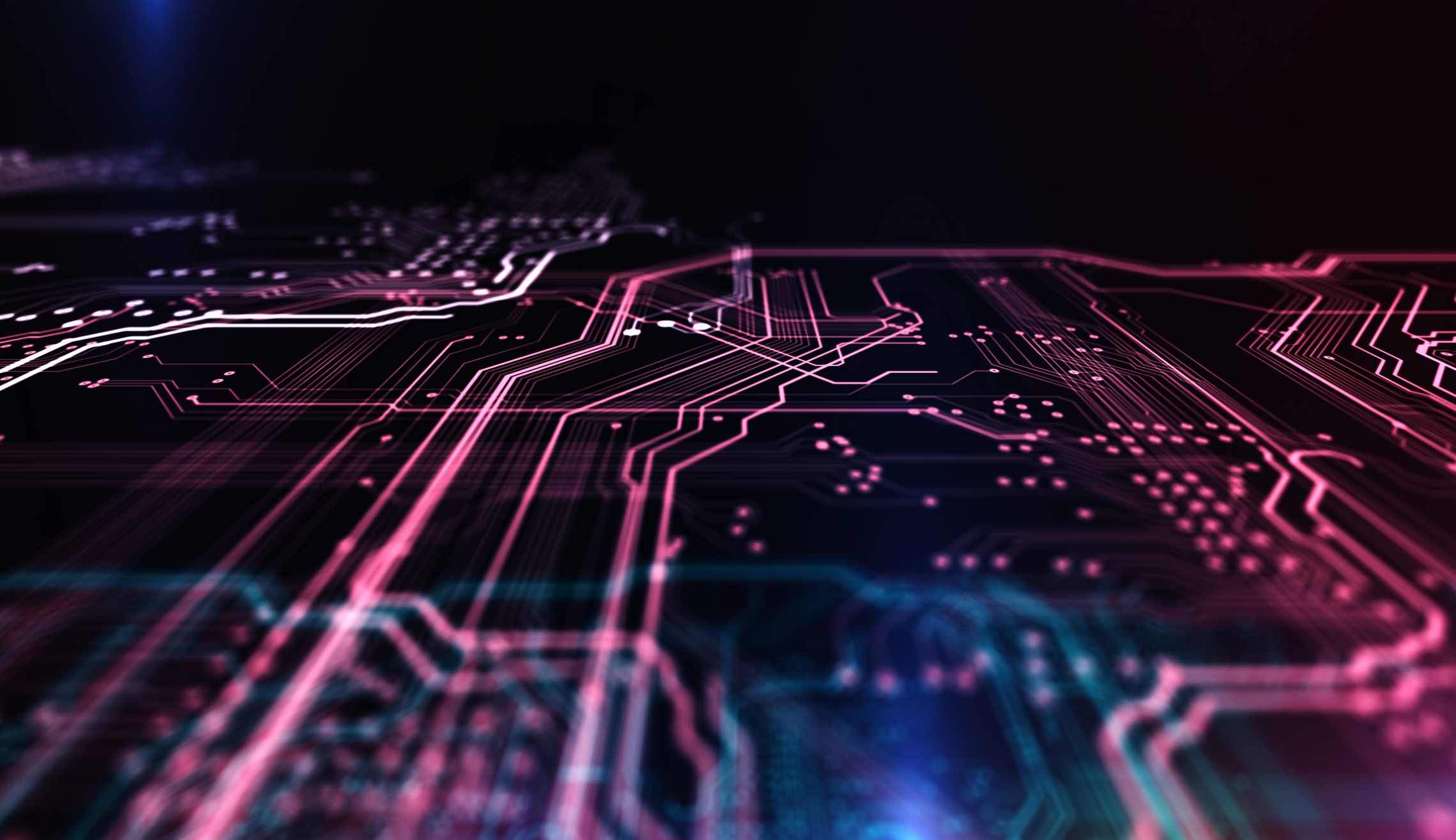 Technology background PCB and code. 3d Illustration